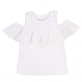 Блуза с дантела на рамената