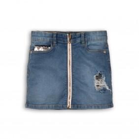 Дънкова пола с цип и пайети